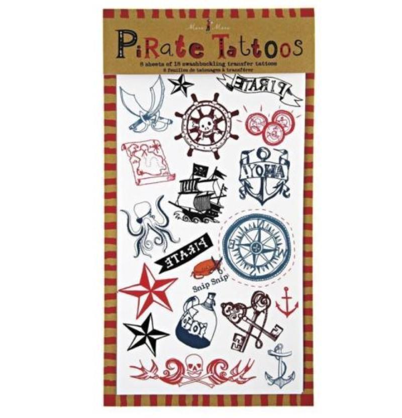 Temporary Pirate Tattoos - 8 sheets of 18 transfer tattoos