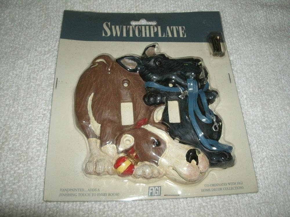 FIGI Let's Play Double Switchplate Dogs - Hand Painted - NIP
