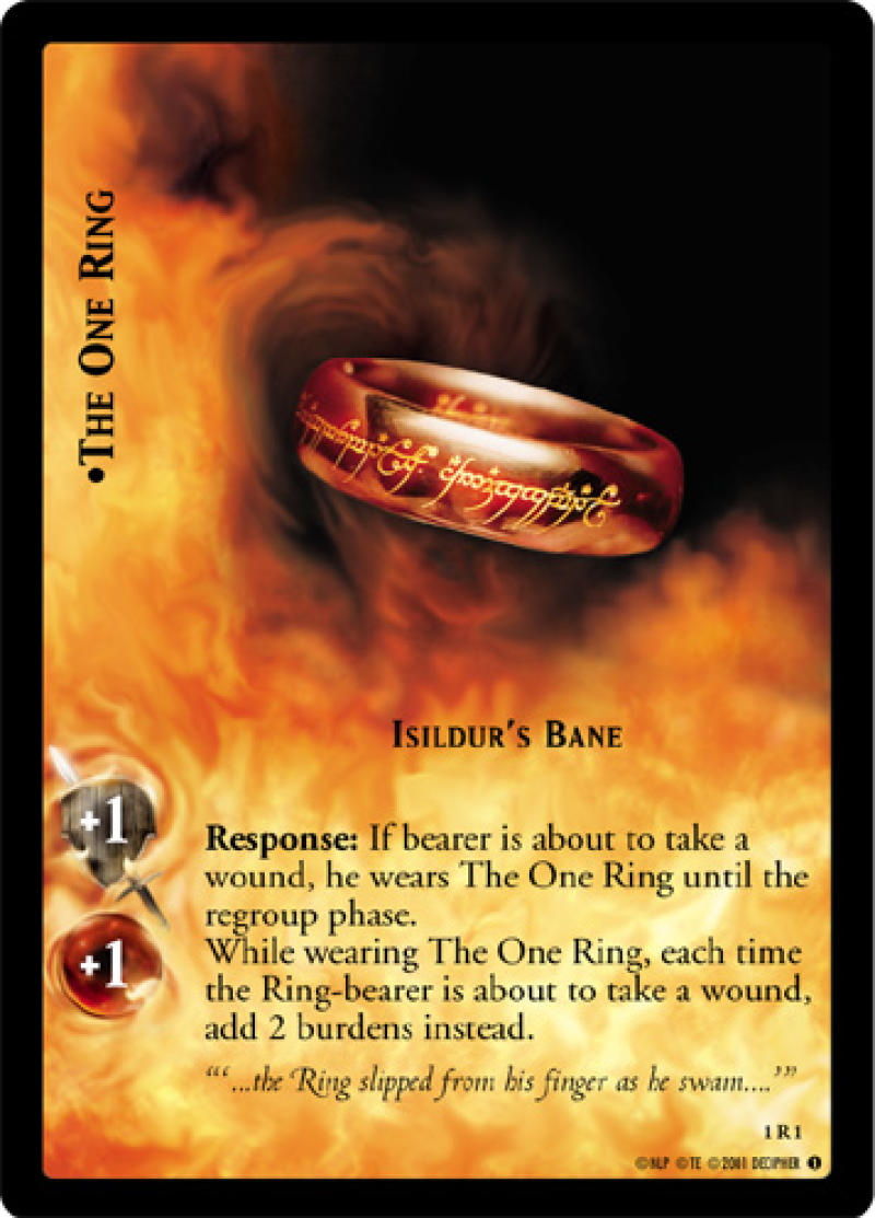 1x LOTR Lord Of The Rings The One Ring Isildur's Bane Fellowship Of The Ring 1R1