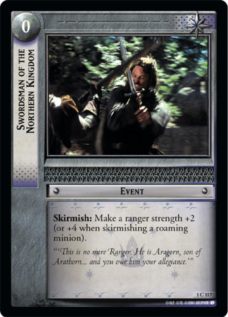 1x LOTR Lord Of The Rings Swordsman Of The Northern Kingdom Fellowship Of The Ring 1C117 TCG