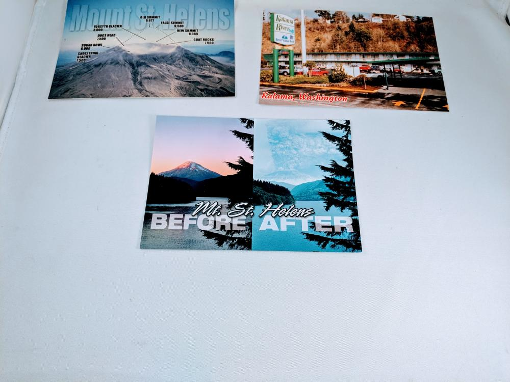 (3) Mixed Postcards Lot Washington State Mt. St. Helens Kalama Volcano