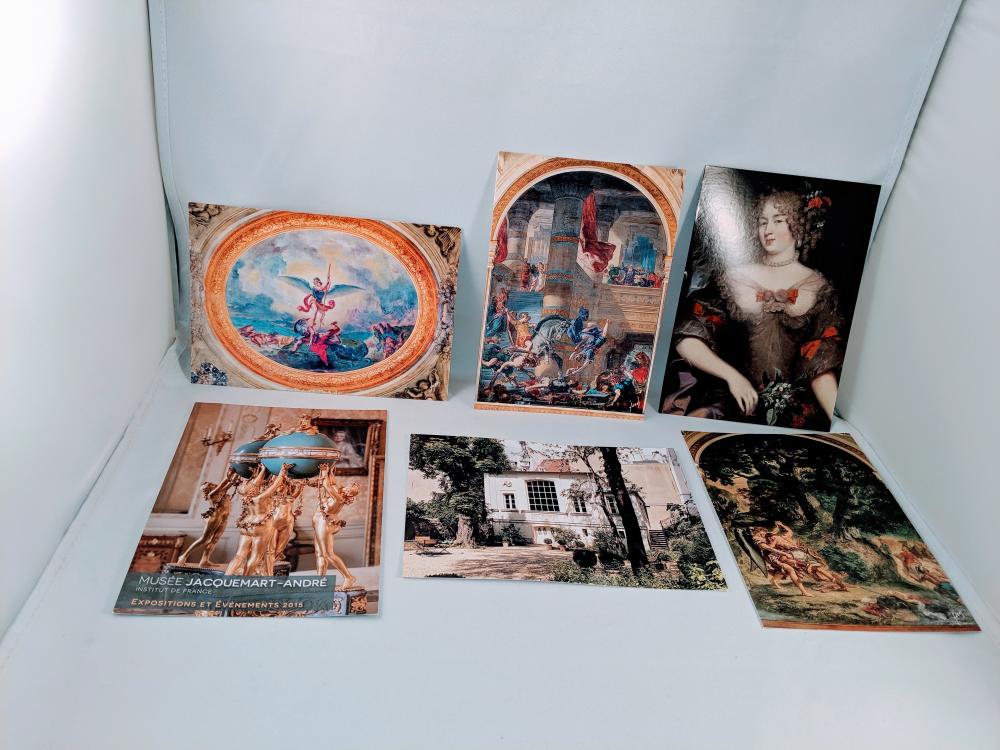 (6) Mixed Postcards Lot Paris France Sculpture Paintings