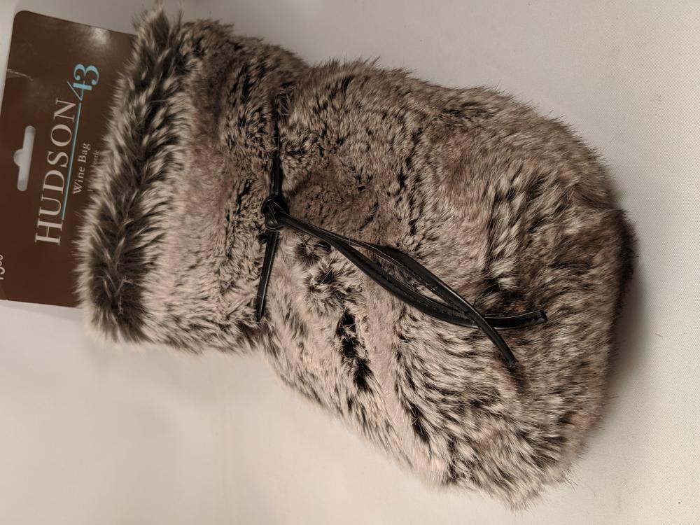 Hudson 43 Park Collection Grey Faux Fur Arctic Wine Bag