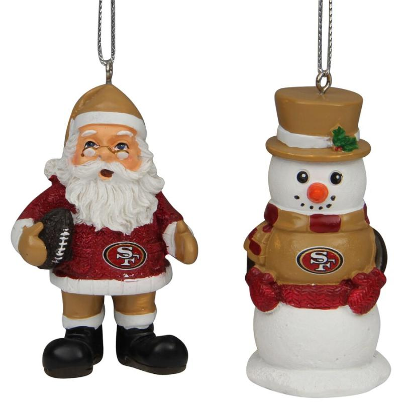 San Francisco 49ers Santa and Snowman 2 pack Ornament
