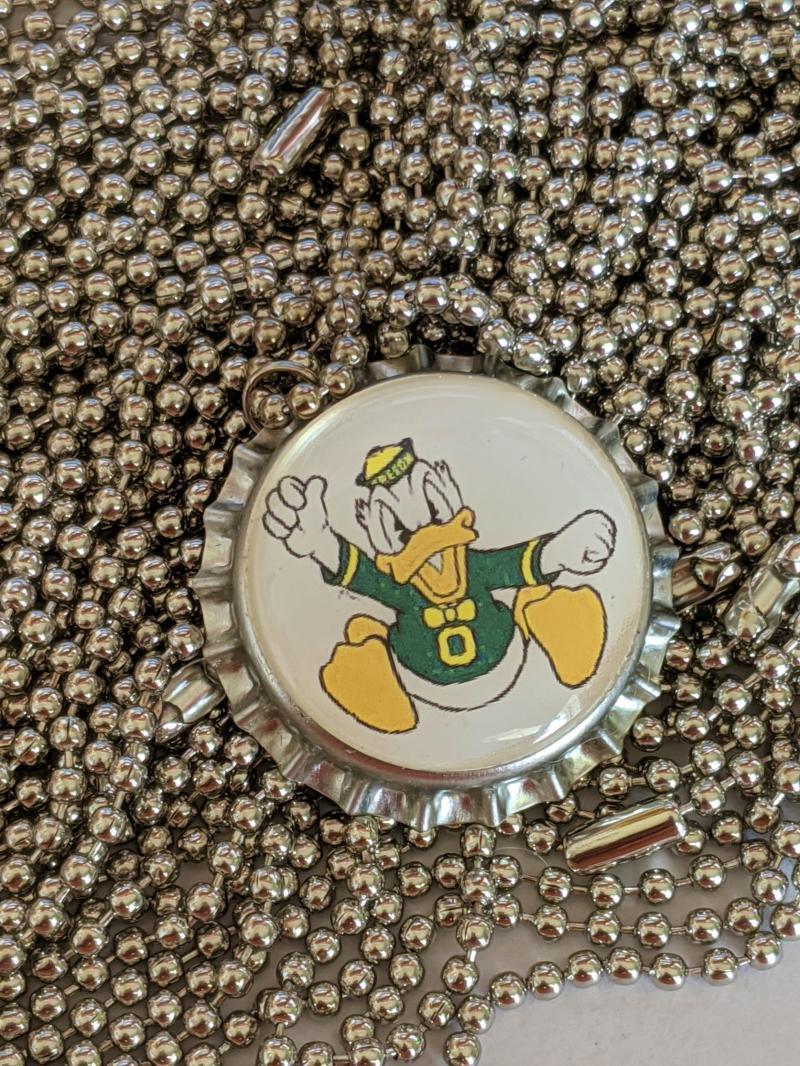 Oregon Ducks collegiate bottle cap ball chain necklace