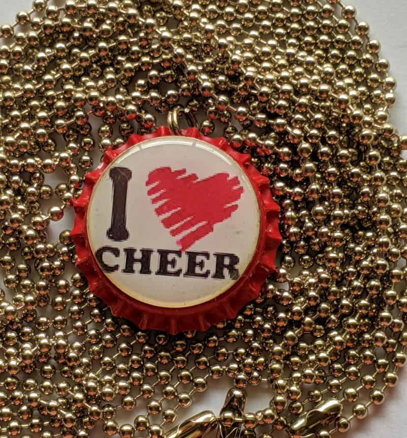 I Heart Cheer red bottle cap pendant necklace ball chain 24
