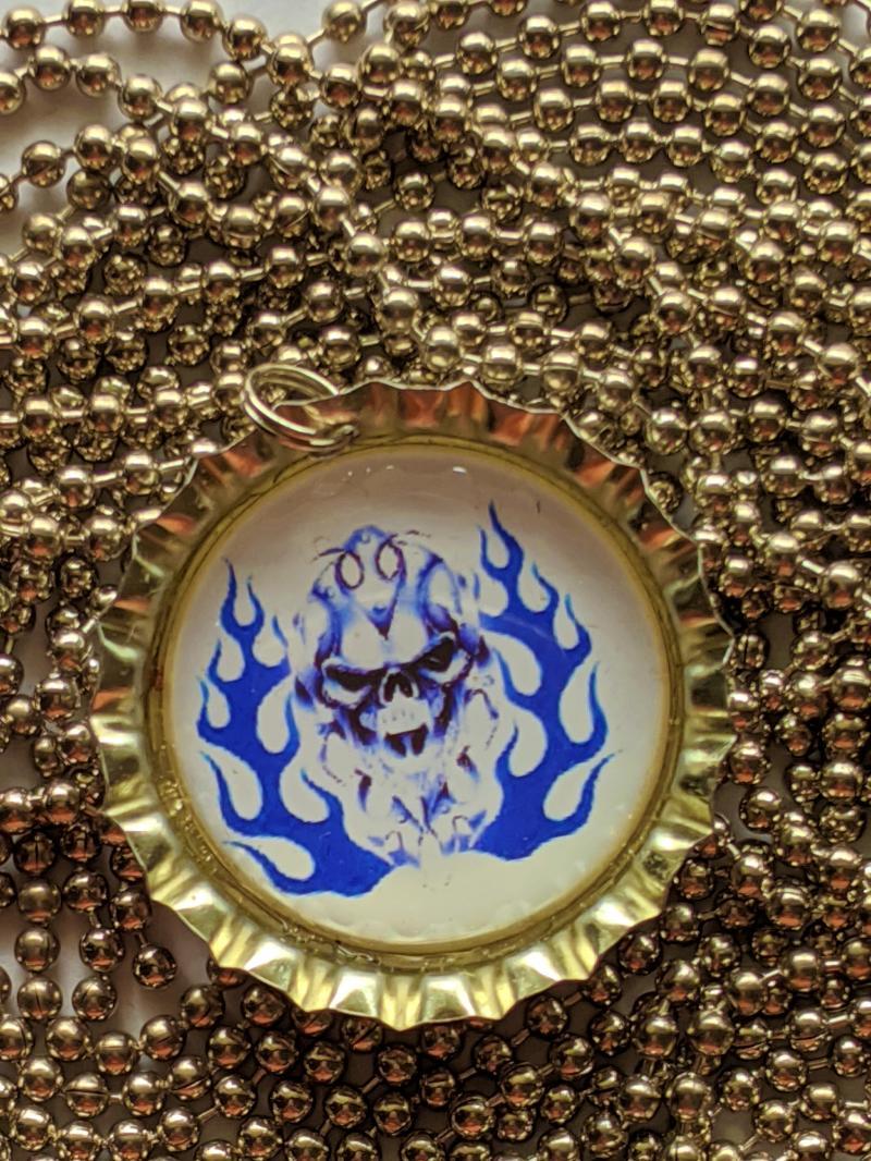 Flaming Blue Skull bottle cap pendant necklace ball chain 24