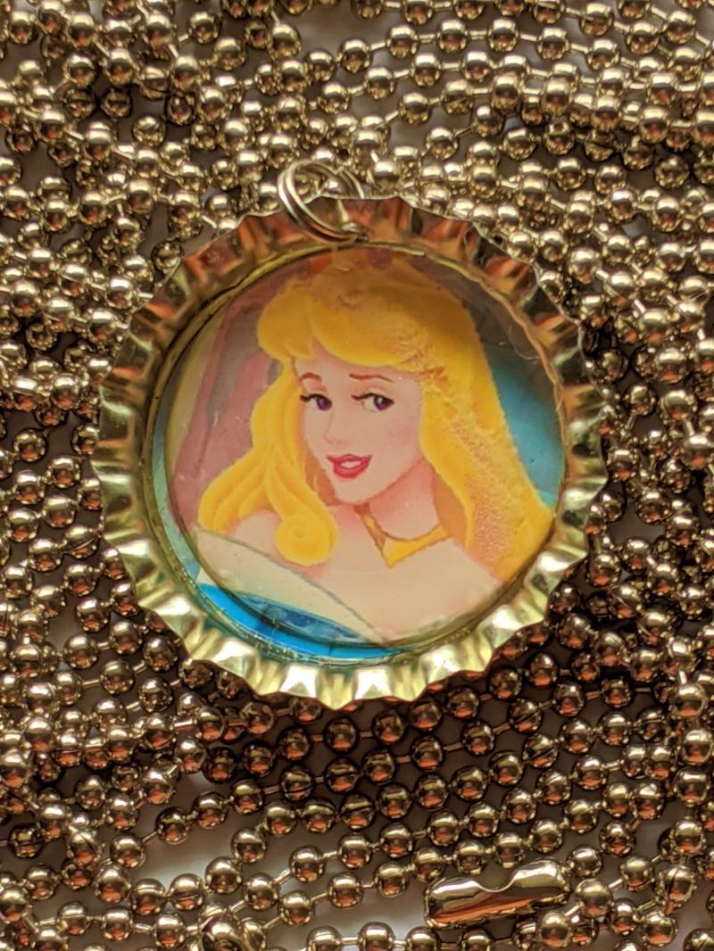 Sleeping Beauty Bottle cap pendant ball chain necklace