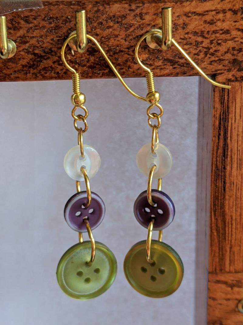Handmade pair Button earrings  green purple and white