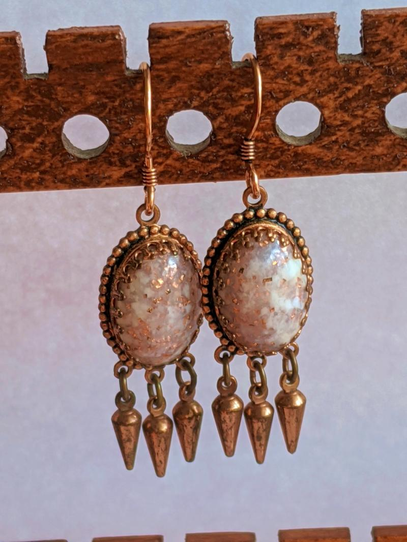 Pair of  White blended golden flaked Agate gemstone dangle earrings with brass