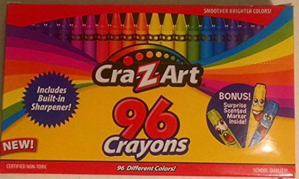 CRA-Z-Art Crayons Mega Box~96 Crayons with Built-in Sharpener! Bonus! Surprise Scented Marker Inside!