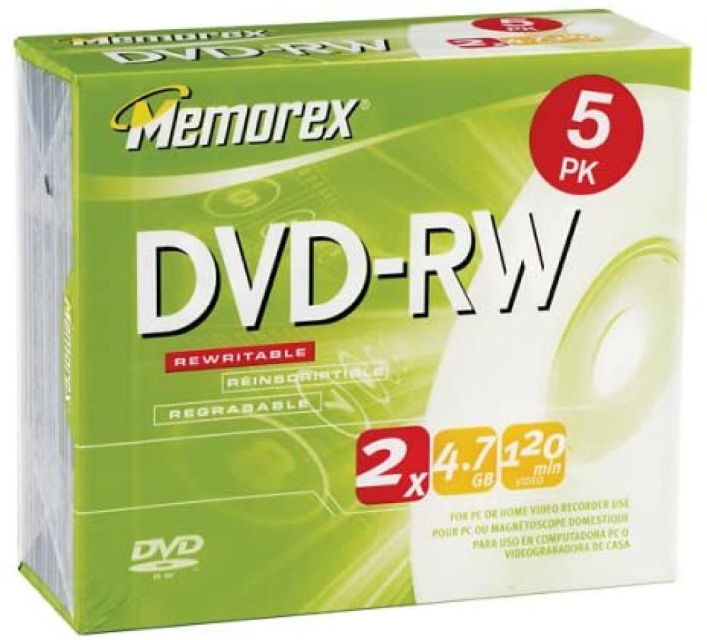 Memorex 4.7GB DVD-RW Media (5-Pack) (Discontinued by Manufacturer)