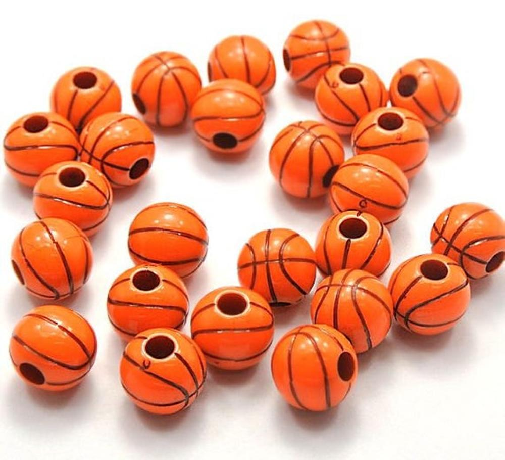 Bulk Basketball large acrylic plastic jewelry beads  60 pieces
