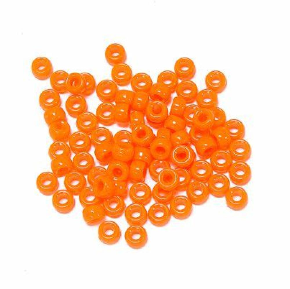 Lot of 250  Bright Orange Pony Acrylic beads (2.3 oz)