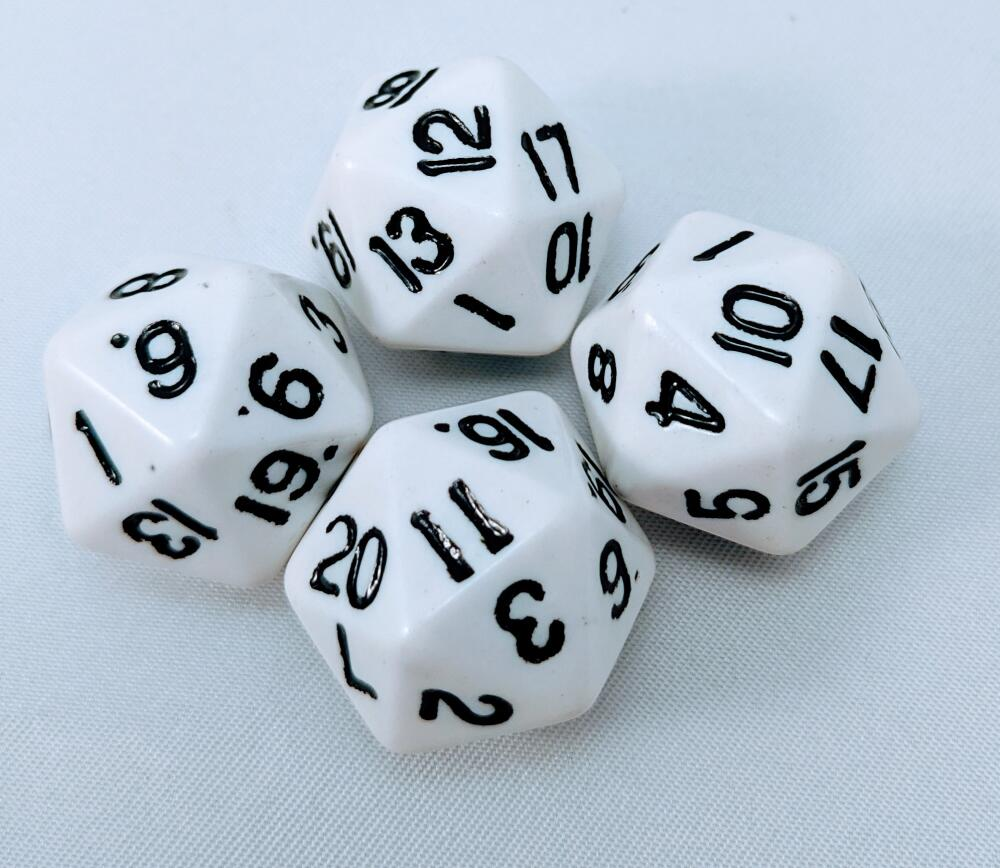 4 Pieces RPG CCG Dice 20 Sided White/Black Die Lot