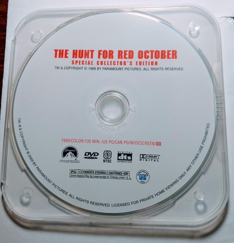 The Hunt For Red October  Widescreen Collection DVD *Disc Only* Sean Connery Alec Baldwin