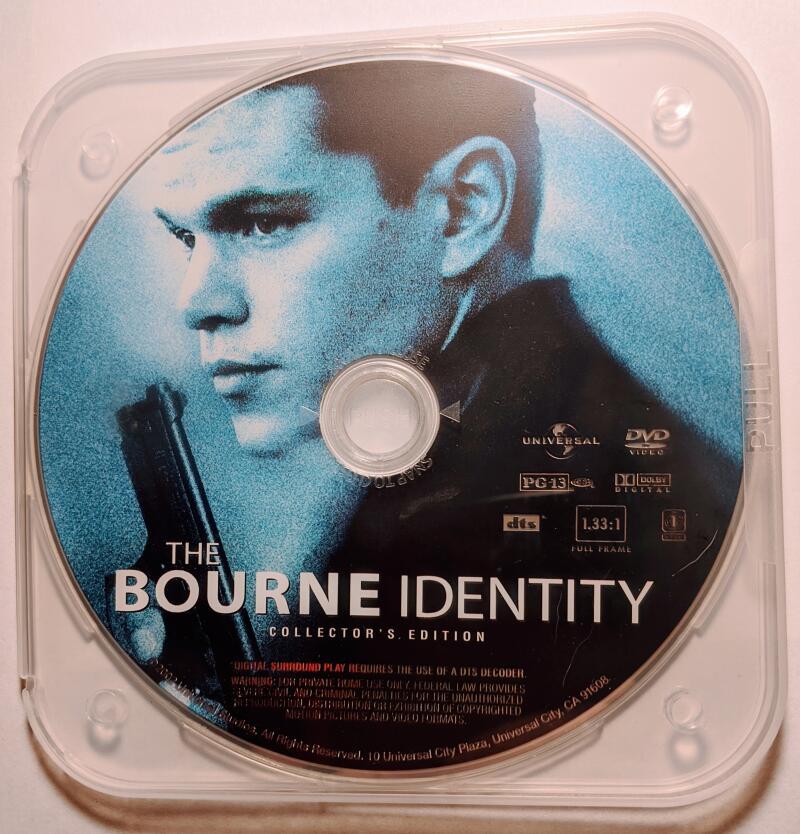 The Bourne Identity Matt Damon Widescreen DVD *Disc Only*