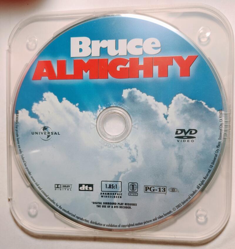 Bruce Almighty Jim Carrey Widescreen DVD *Disc Only* Morgan Freeman  Jennifer Aniston