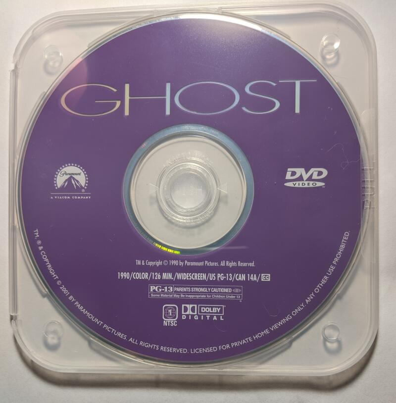 Ghost Patrick Swayze Demi Moore Whoopi Goldberg Widescreen DVD *Disc Only*
