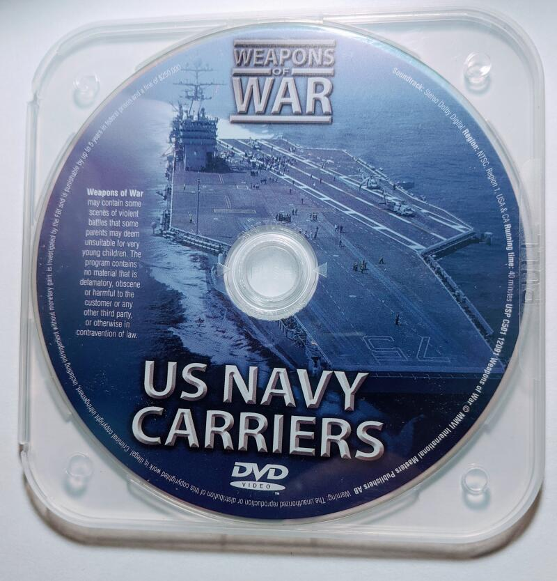 US Navy Carriers Military Weapons Of War DVD *Disc Only*