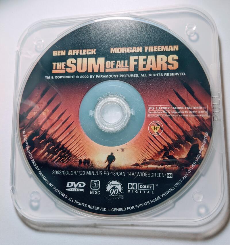 The Sum OF All Fears Ben Affleck Morgan Freeman WideScreen Collection DVD *Disc Only*