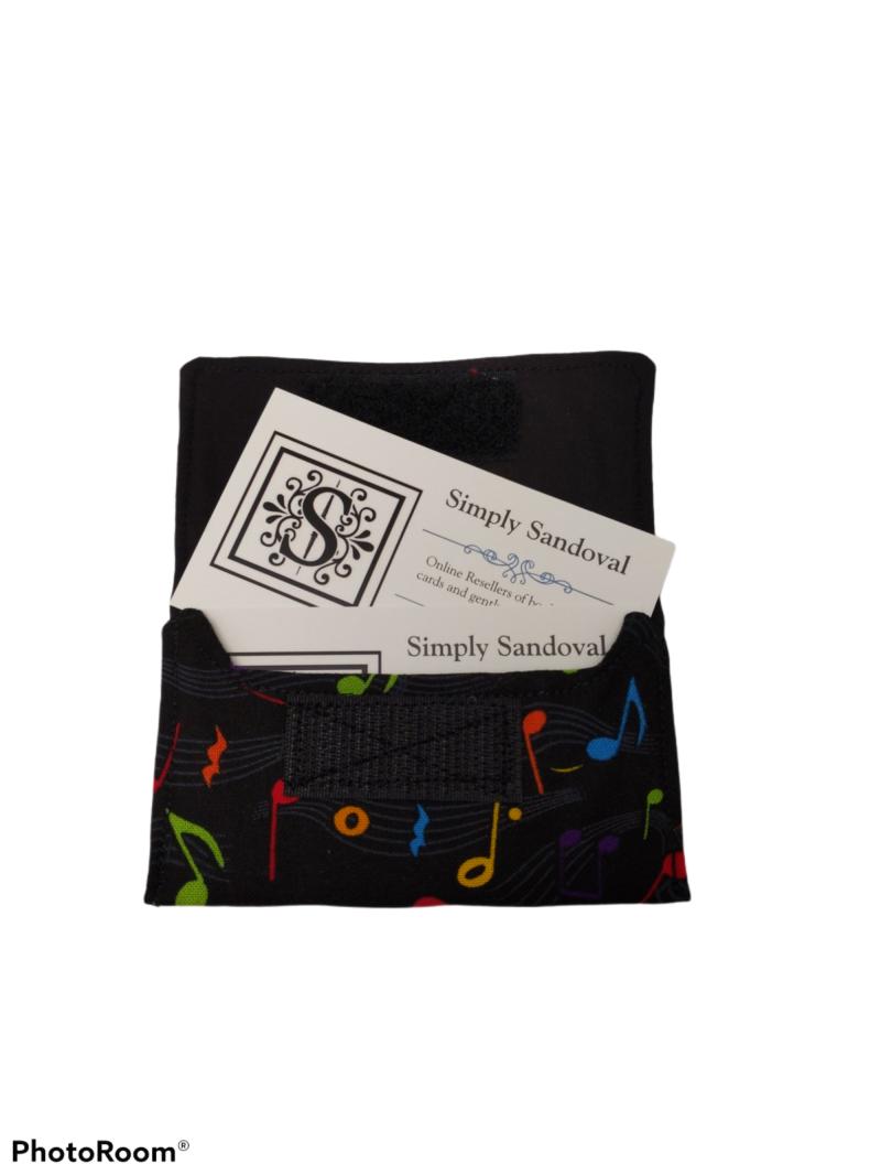 Musical Notes design Re-useable *gift card holder * business card holder *credit cardholder  -black lining