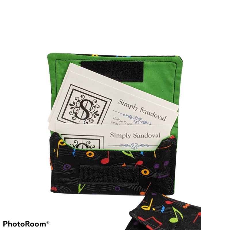 Musical Notes design Re-useable *gift card holder * business card holder *credit cardholder  -green lining