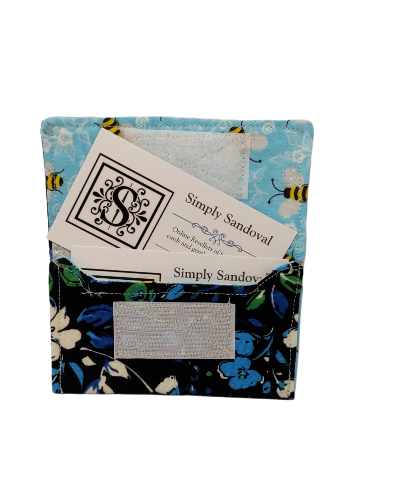 Blue Flowers Re-useable *gift card holder * business card holder *credit cardholder  -bee's lining