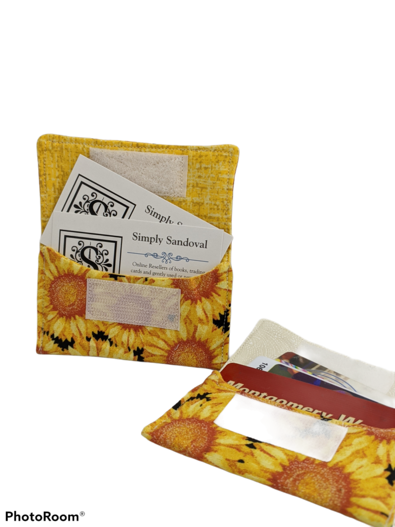 Sunflowers Re-useable *gift card holder * business card holder *credit cardholder sunflower inside lining