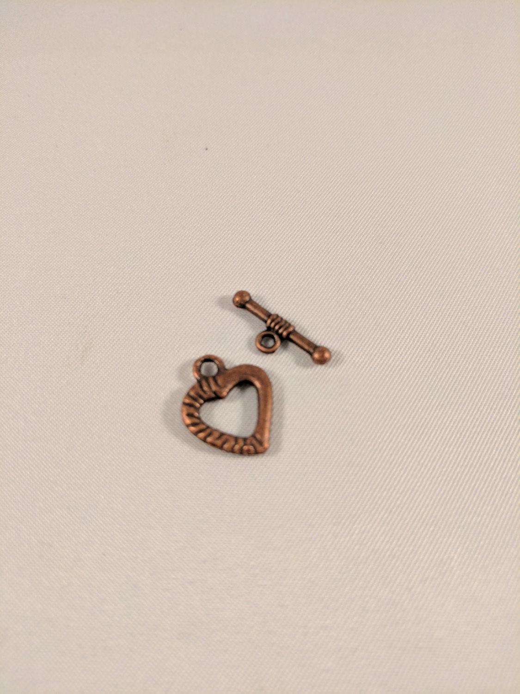 Bracelet Heart Clasps - Antique Copper finish 20pcs (10 pairs) (X000X8G8XX)