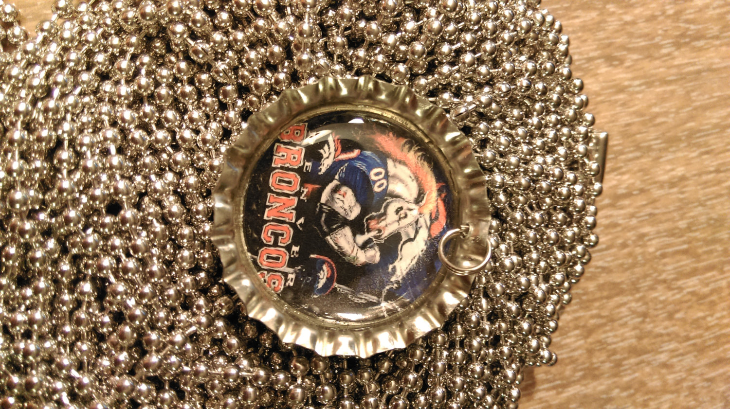 Broncos Bottle Cap Necklace With 24