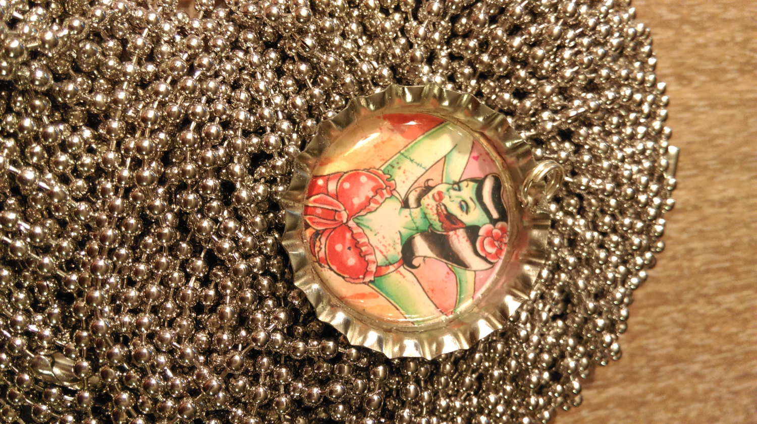 Zombie Polka Dot Pin Up Bottle Cap Necklace With 24