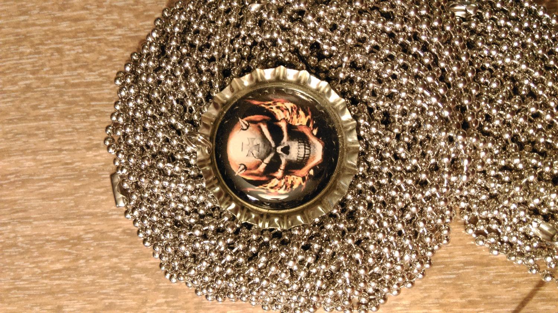 Burning, Horned Skull Bottle Cap Necklace With 24