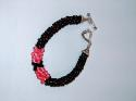 Simply Sandoval 7-inch Beaded Kumihimo Bracelet Pink & Black Swarovskis and Black Beads