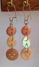 Pair of Button Earrings  beige and brown with stainless steel kidney hook
