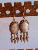 Pair of  White blended golden flaked Agate gemstone dangle earrings with brass and copper fish hooks