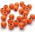 Bulk Basketball large acrylic plastic jewelry beads  60 pieces