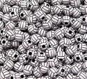 30pc Volleyball PONY BEADS dark brown for crafts and jewelry making