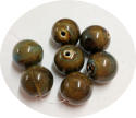 Ceramic Beads Dark Honey-and-dark-aqua-20mm-round-